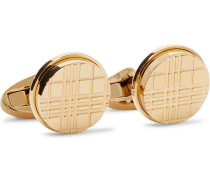Checked Gold-tone Cufflinks - Gold