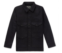 Virgin Wool Shirt Jacket - Midnight blue