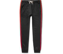 Tapered Webbing-trimmed Tech-jersey Sweatpants