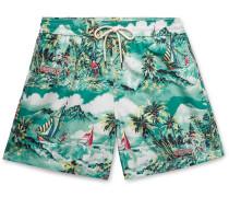 Traveller Mid-length Printed Swim Shorts - Green