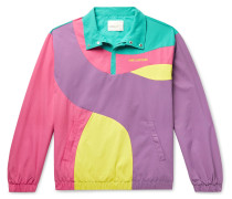 Logo-Embroidered Colour-Block Nylon Half-Zip Jacket