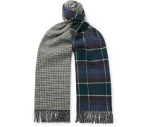 Reversible Herringbone And Tartan Merino Wool And Cashmere-blend Scarf