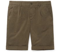 Slim-fit Pleated Cotton-twill Chino Shorts - Army green
