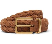 3.5cm Tan Woven Suede Belt - Tan