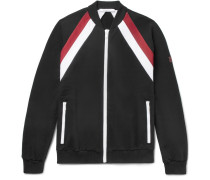 Slim-fit Striped Fleece-back Cotton-jersey Bomber Jacket