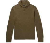 Shawl-collar Merino Wool-blend Sweater - Green