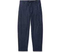 Tapered Denim Drawstring Trousers - Blue