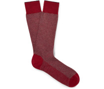 Herringbone Cotton-blend Socks - Claret