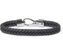 Woven Leather and Silver-Tone Bracelet