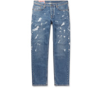 River Tapered Paint-splattered Stretch-denim Jeans - Mid denim