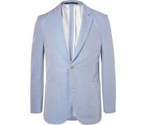 Blue Slim-fit Cotton-twill Blazer