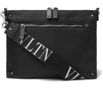 Valentino Garavani Leather-trimmed Shell Messenger Bag