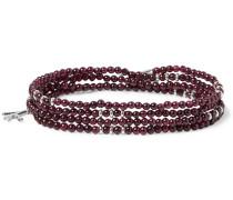 Silver And Garnet Beaded Wrap Bracelet - Purple