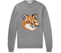 Fox-intarsia Wool Sweater - Gray