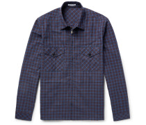 Checked Cotton And Linen-blend Zip-up Overshirt