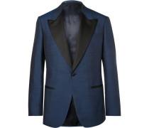Harry's Navy Faille-trimmed Silk Tuxedo Jacket