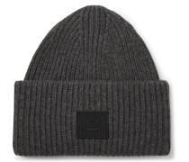 Logo-appliquéd Ribbed Wool Beanie - Dark gray