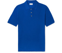 Slim-fit Knitted Silk Polo Shirt - Blue