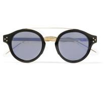 Round-frame Gold-tone And Acetate Sunglasses - Black