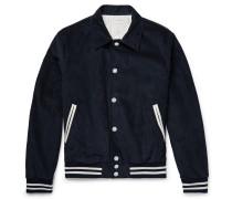 Appliquéd Leather-trimmed Cotton-blend Corduroy Blouson Jacket - Midnight blue