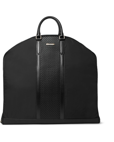 Rubber-trimmed Shell And Pelle Tesutta Leather Suit Carrier