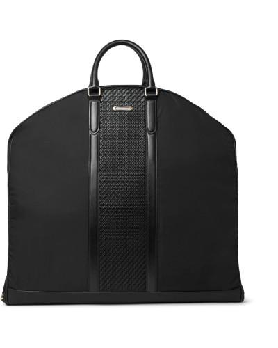 Rubber-trimmed Shell And Pelle Tesutta Leather Garment Bag - Black