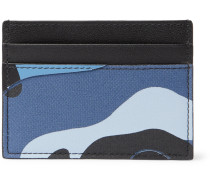 Valentino Garavani Camouflage-print Leather And Canvas Cardholder