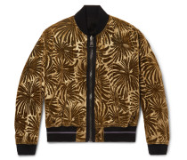 Reversible Dévore-velvet And  Cotton-fleece Bomber Jacket