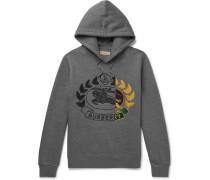 Logo-embroidered Mélange Fleece-back Cotton-blend Jersey Hoodie - Gray