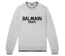 Logo-intarsia Cotton Sweater - Gray