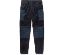 Patchwork Wide-leg Cotton-corduroy, Ribbed Wool And Canvas Trousers - Navy