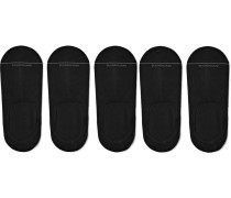 Five-pack Invisible Touch Pima Cotton-blend No-show Socks - Black
