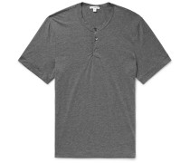 Mélange Cotton And Cashmere-blend Henley T-shirt - Dark gray