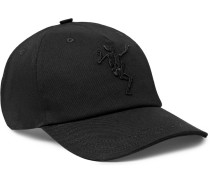 Embroidered Stretch-cotton Twill Baseball Cap - Black
