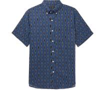 Button-down Collar Printed Linen And Cotton-blend Shirt