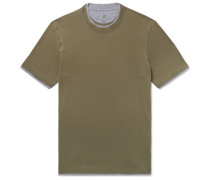 Slim-fit Layered Cotton-jersey T-shirt - Army green