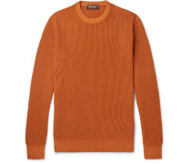 Garment-dyed Ribbed Cashmere Sweater - Orange