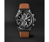 Carrera Automatic Chronograph 43mm Brushed-steel And Leather Watch