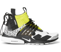 + Acronym Air Presto Mid Leather And Rubber-trimmed Mesh Sneakers - White