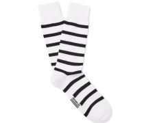 Striped Stretch Cotton-blend Socks - White