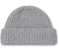 Dock Ribbed Wool Beanie - Light gray