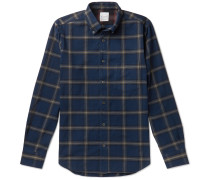 Button-down Collar Checked Cotton-flannel Shirt - Blue