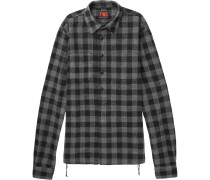 Checked Brushed Cotton-flannel Half-placket Shirt
