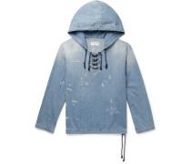 Distressed Lace-up Denim Hoodie - Light blue