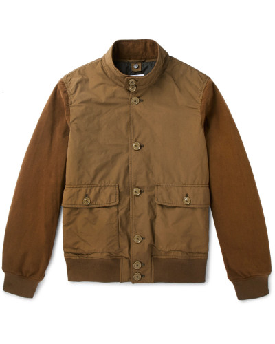 Suede-panelled Shell Jacket - Army green