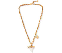 Gold-tone, Crystal And Shark Tooth Necklace - Gold