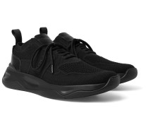 Shadow Leather-Trimmed Stretch-Knit Sneakers