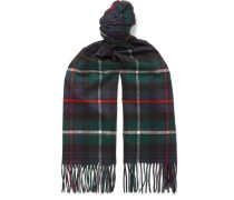 Fringed Checked Cashmere Scarf - Green
