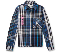 Printed Checked Cotton-blend Flannel Shirt - Blue