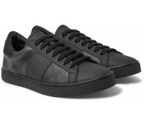 Rubberised-leather And Checked Pvc Sneakers